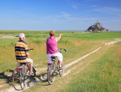Camping close to the Mont Saint Michel in France. near Saint Georges de Grehaigne