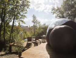 Unusual stay in transparent bubbles in Aquitaine, France. near Port Sainte Marie