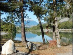Campsite close to Serre Poncon lake in France.