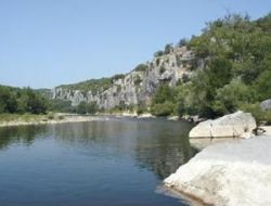 Camping near Pont d'Arc in Ardeche, France near Malbosc