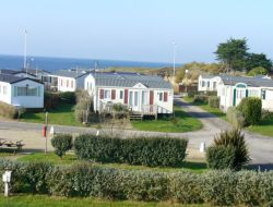 Seafront campsite in southern Brittany, France.